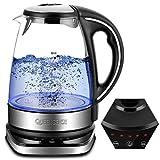 QUEENSENSE Wasserkocher Glas Teekocher mit...