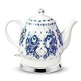 Design Porzellan Wasserkocher Gzhel 1,7L. elektrische Teekanne Keramik...