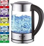 Glas Wasserkocher Edelstahl mit Temperaturwahl | Teekocher | 100% BPA...