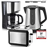 Emerio Frühstücks-Set Kaffeemaschine Toaster Wasserkocher Edelstahl...
