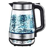 Glas Wasserkocher mit Temperatureinstellung, 1,7 Liter Teekocher mit...