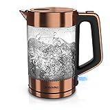 Arendo - Glas Wasserkocher Edelstahl - 1,7 Liter - 2200W - Cool Touch...