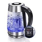 Aigostar Glas Wasserkocher 2-in-1 Teekocher mit Teesieb, 2200W 1.7L,...