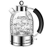 Wasserkocher Glas, ASCOT 2200 W, 1,6 liter, Elektrischer Wasserkessel,...