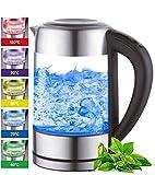 Glas Wasserkocher 1,7 Liter | 2200 Watt | Edelstahl mit Temperaturwahl...