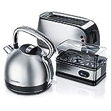 Arendo Edelstahl Wasserkocher + 4-Scheiben Toaster inkl....