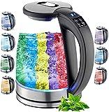 Glas Wasserkocher 1,8 Liter | 2200 Watt | Edelstahl mit Temperaturwahl...