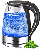 Wasserkocher Edelstahl Glas | 1,7 Liter | 2000W | Blaue LED...