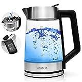 AMARA Wasserkocher Glas mit Temperatureinstellung 2200 Watt 2L...