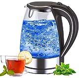 Edelstahl Glas Wasserkocher | 2200W | 1,7 Liter | Blaue LED...
