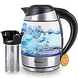 TRESKO Glas Wasserkocher 1,8L Edelstahl mit Teesieb und Kalkfilter |...